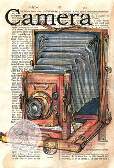 6 x 9 Print of Original, Mixed Media Drawing on Distressed, Dictionary Page    This drawing of a vintage camera is drawn in sepia ink and created with pastel and colored pencils on a distressed page from a dictionary that includes the definition camera. Unlike similar prints available from other artists, this image was drawn directly on a page from a repurposed, rescued book. This is a digital print of the original artwork. The original artwork may or may not be available in another area of…