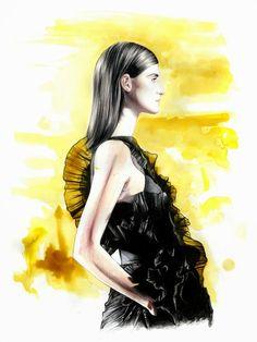 5 fashion sketches by Caroline Andrieu