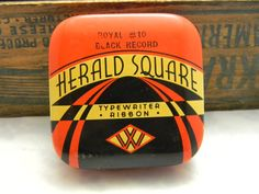 Vintage Herald Square Typewriter Ribbon Tin empty Woolworth price tag by VogelHausVintage on Etsy