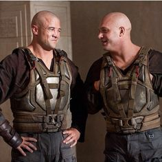 Tom Hardy with his stunt double on the set of The Dark Knight Rises. :)