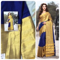 """""""Weekend saree sale"""" Pls call/whatsapp +919600639563. Code: wss gldblu Price: 2799/- Material: Soft cotton. For booking and further details pls call or whatsapp us at +919600639563. Happy shopping y'all :)"""