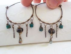 Antiqued brass wire wrapped dangle hoop earrings, artisan made, hand forged, hammered, primitive tribal bohemian rustic jewelry, tear drops