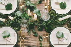Organic tablescape with gold flatware