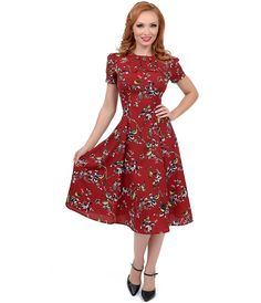 See more detail about   Hell Bunny 1950s Style Carmine Red Birdy Swing Dress ..