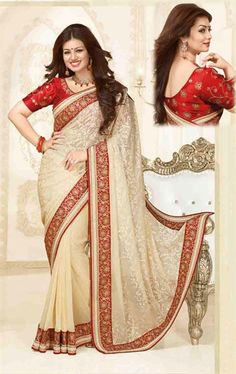 Picture of Ethnic Butter Cream Bollywood Saree