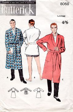 1950s Men's Robe Pattern Butterick 8068 Vintage by BessieAndMaive