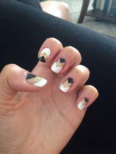 Chevron gold black white nails : Gatsby nails