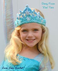 This listing is for one hand crocheted, Disney, Frozen, Elsa Tiara, hand beaded in sparkly accents. You choose the size. Every Tiara is one-of-a-kind and absolutely gorgeous. Made with 100% cotton yarn and Czech glass beads, the Tiaras are soft on the head and so sparkly. The Elsa Tiara is made to match Elsaa gorgeous snow princess dress from the Disney movie, Frozen. Each Tiara is designed in shades of light turquoise blue, white and/or silver. Stunning beads, rhinestones, snowflake sequins…
