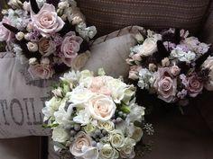 Vintage romance, my specialty!  Cream & pale pink with grey palette. Bayview Florist Wedding Studio, Sayville, NY.  www.liweddingbouquets.com