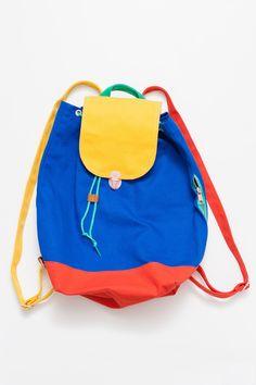 ALL Knitwear + BAGGU Blue Color Block Backpack www.BAGGU.com