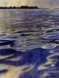 Art Print Lake Landscape Lake Murray South by rachelsstudio - Lake Murray Moon