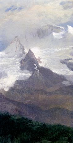 The Athenaeum - Cloud Study with Mountain Peaks (Albert Bierstadt - )