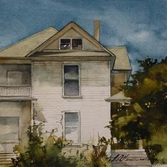 "Vintage White ($1,150) by Joseph Alleman Watercolor ~ 7"" x 7"""