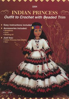 Indian Princess, Fibre Craft 15 inch Native American Doll Clothes Crochet Pattern Booklet 3204