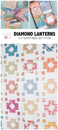 Diamond Lanterns Quilt Pattern - The Tilda fabrics one - Quilty Love | Modern fat eighth and fat quarter friendly quilt pattern.  Square in a square quilt.  Easy block quilt pattern.