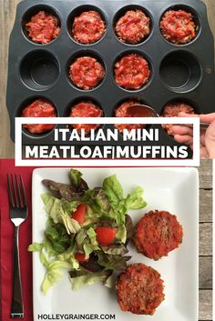 Italian Mini MeatLoaf Muffins capture all the flavor of your favorite comfort food for less calories and fat . Make ahead and freeze for a quick, kid-friendly weeknight dinner. | Holley Grainger Nutrition