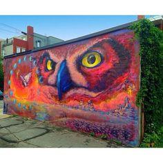 Murals Street Art, 3d Street Art, Amazing Street Art, Street Art Graffiti, Reverse Graffiti, Watercolor Artwork, Artwork Paintings, Owl Art, Land Art