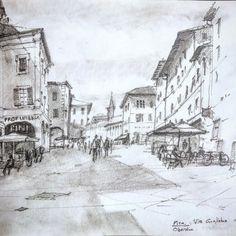 Via Guglielmo Oberdan in Pisa old town. Beautiful sun-faded buildings and crumbling stucco. #Sketch #pencil #pisa #tuscany