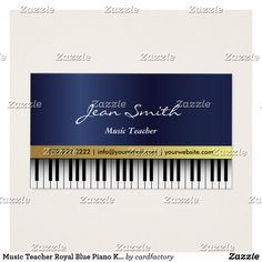 Music Teacher Royal Blue Piano Keys Elegant Business Card Music Teacher Royal Blue Piano Keys Elegant Business Card.
