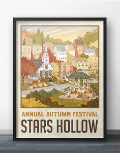 Time to get cozy and evoke the scent of a wood-burning fireplace, pumpkin pie and spiced hot apple cider! This is a special Annual Autumn Festival edition of the Stars Hollow Travel Poster. Gilmore Girls does such a wonderful job of representing the seasons on the show, that it inspired me to design an Autumn version for fans to swap out with the original Stars Hollow travel poster, just in time for the FALL SEASON!  Although this fan artwork was meant to be subtle (and hence, tasteful…