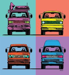 """@nrwstr and I have been collaborating on a lot of different things over the past few weeks. While changing up our new logo and some illustrations to accommodate a variety of vans Damon was inspired to do this piece named """"Vandy Warhol."""" Over the coming month's you will be seeing a lot of different things rising out of the VanagonLife camp. Our adventures photography and new product design will always be on the forefront but collaborations with artists designers and industry leaders will be…"""
