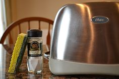 How to clean that oily, sticky residue off of appliances. 1 Tbs cream of tartar with a drop of water rub and rinse