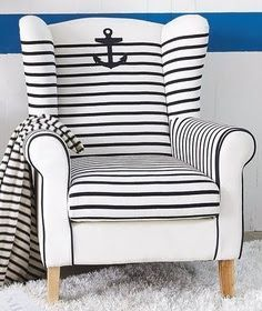 Nautical white and blue striped chair with anchor