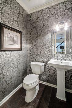 Take a look at this classy half-bath. Basement Bathroom, Small Bathroom, Master Bathroom, Bathroom Ideas, Bathrooms, Basement Renovations, Bathroom Renovations, Home Renovation, Half Bath Decor