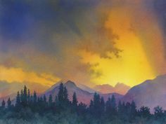 """Talkeetna Sunset""  To paint this breathtaking, Alaskan sunset, I relied on multiple glazes of very wet color on saturated paper, to build up the intensity, the values, and the cloud shapes in the sky. $1000.00 framed Available for purchase; please inquire: alexislavineartist@gmail.com"