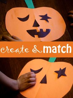 Create one pumpkin face with shapes to match on another pumpkin. It's a pumpkin face match up for kids to learn about shapes in the Halloween spirit! Art Activities For Kids, Holiday Activities, Toddler Activities, Art For Kids, Crafts For Kids, Toddler Teacher, Toddler Preschool, Holidays Halloween, Halloween Crafts
