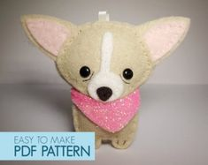 Easy to sew felt PDF pattern. DIY Pepe' the Chiwawa, finger puppet, ornament.