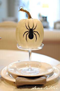 Halloween Decoration: White Pumpkin with Spider