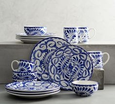 Puebla 16 Piece Dinnerware Set from Pottery Barn Bone China Dinnerware, Stoneware Dinnerware Sets, Tableware, Blue Dinnerware Sets, Serveware, Pottery Barn, Slab Pottery, Table Throw, Wall Candle Holders