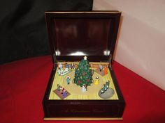 Vintage Music Box - A Christmas Carol Scene - Animated By GOLD LABEL (round top) #GoldLabel