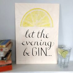 This 'gin' wooden wall art features our fun and colourful 'let the evening beGIN' design printed on a beautiful piece of sustainable wood. While classically elegant with hand-drawn script and lovely yellow lemon, this print also has a subversive message that gin lovers will adore! From a hand-drawn original, the calligraphic lettering was drawn in pen and ink and the lemon/lime in watercolour. The contemporary print looks great in the kitchen or living room, and will be appreciated by anyone…