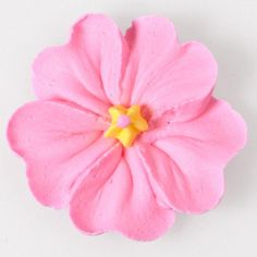 """Primrose - The Primrose is a flat flower with richly textured petals. Key to the heart-shaped petals is perfecting a """"curve-dip-curve"""" motion as you spin the flower nail. Frosting Flowers, Royal Icing Flowers, Sugar Flowers, Cake Flowers, Cake Piping Techniques, Rose Icing, Cake Decorating Tutorials, Cookie Decorating, Decorating Cakes"""