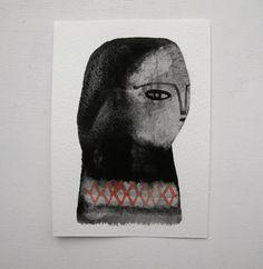 Winter Folk Portrait original gouache painting by cathy cullis. #rowenamurillo