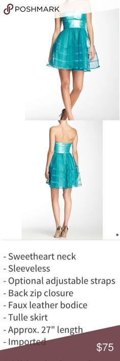 👠 Teal- Betsey Johnson faux leather dress Sweetheart neckline. Gorgeous color. Nice texture. Optional straps. So cute in person. Amazing color .100% polyester. Dry clean. Betsey Johnson Dresses Mini