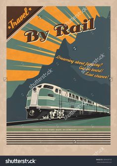 PLEASE BUY IT FROM HERE: https://www.etsy.com/ru/listing/495221952/train-retro-poster    Vintage travel poster for printing. Vector illustration of diesel train in retro style.
