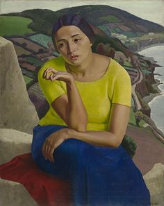"""Painting by Dod Procter (1890-1972),  1919,  """"In a strange land"""", National Gallery of Victoria, Melbourne."""