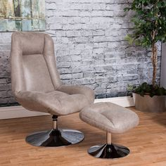 Bring ultimate relaxation into your home with this recliner and ottoman combination. Recover from the rigors of the day lounging on this contemporary recliner and ottoman set. This set features a color coordinated recliner, ottoman and their support bases covered in soft leather upholstery for a luxurious look and feel. Rest your arms on the padded arm rests and enjoy the support from the contoured back and generously cushioned seat.