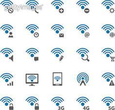 Wireless and wifi icon set - gettyimageskorea