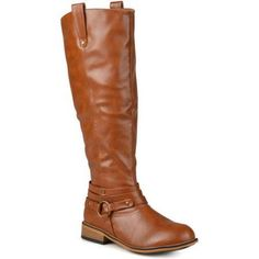 Brinley Co. Womens Extra Wide Calf Ankle Strap Knee-high Riding Boots, Women's, Size: 7, Brown