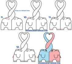 How to Draw Cute Kawaii Chibi Elephants in Love Forming a Heart with Their Trunks - Step by Step Drawing Tutorial - How to Draw Step by Step Drawing Tutorials Easy Heart Drawings, Easy Drawings For Beginners, Easy Drawing Steps, How To Draw Steps, Bff Drawings, Easy Drawings For Kids, Kawaii Drawings, Step By Step Drawing, Disney Drawings