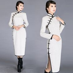 White cotton linen long sleeve traditional Chinese cheongsam dress |... ($230) ❤ liked on Polyvore featuring dresses, white long-sleeve dresses, white day dress, longsleeve dress, cheongsam dress and white long sleeve dress