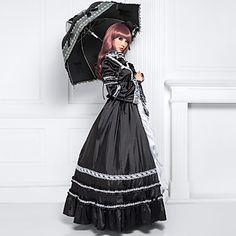douille de sol longueur noir satin de coton robe lolita classique long – EUR € 79.99