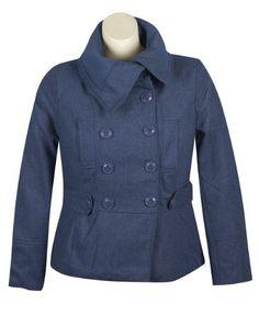 Plus Size Navy Pea Coat -- Size:2x Color:Navy Last Kiss. $70.99