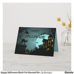 Shop Happy Halloween Black Cat Haunted House Blue Card created by Ruxique. Personalize it with photos & text or purchase as is! Halloween Season, Halloween Cards, Halloween Themes, Vintage Halloween, Happy Halloween, Halloween Decorations, Funny Halloween, Tidy Cats, Cat City