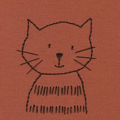 Embroidery Patterns Rust Cat with Stripes - Rust Cat with Stripes Diy Embroidery Projects, Hand Embroidery Patterns Free, Towel Embroidery, Iron On Embroidery, Simple Embroidery, Embroidery Transfers, Embroidery Applique, Cross Stitch Embroidery, Embroidery Thread