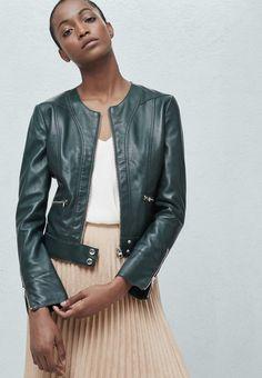 Vestes en cuir Mango KATE - Veste en cuir - emerald green vert: 89,99 € chez Zalando (au 15/05/16). Livraison et retours gratuits et service client gratuit au 0800 740 357.